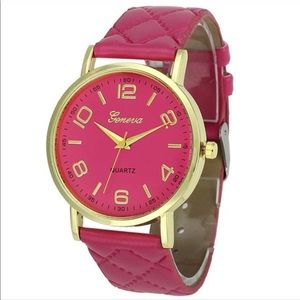 Hot Pink Faux Leather Fashion Watch NWT